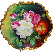 "MAGNIFICENT - Coronet - Limoges France - IMPRESSIVE 13"" Plaque - Charger - Hand Painted -"