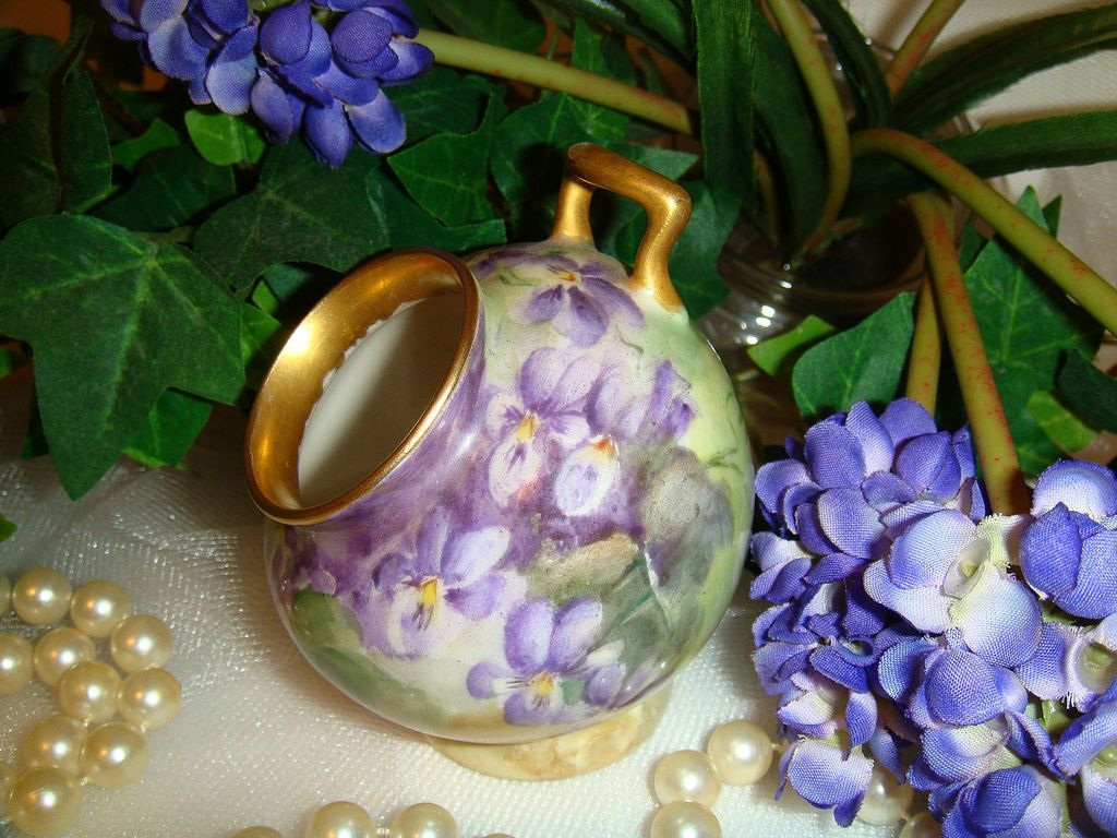 T&V Limoges Rooting Pot Hand Painted with Purple Violets