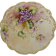 "Exquisite - Limoges - 12 1/2"" - Charger - Hand Painted - Romantic Bouquet - Deep Purple A"