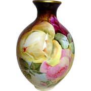 Lovely - T&V Limoges FRANCE - Vase - Hand Painted - Romantic Victorian Bouquet - Tea Roses - E