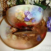 Awesome Haviland Limoges Pedestal Cup and Saucer Hand Painted with Blackberries