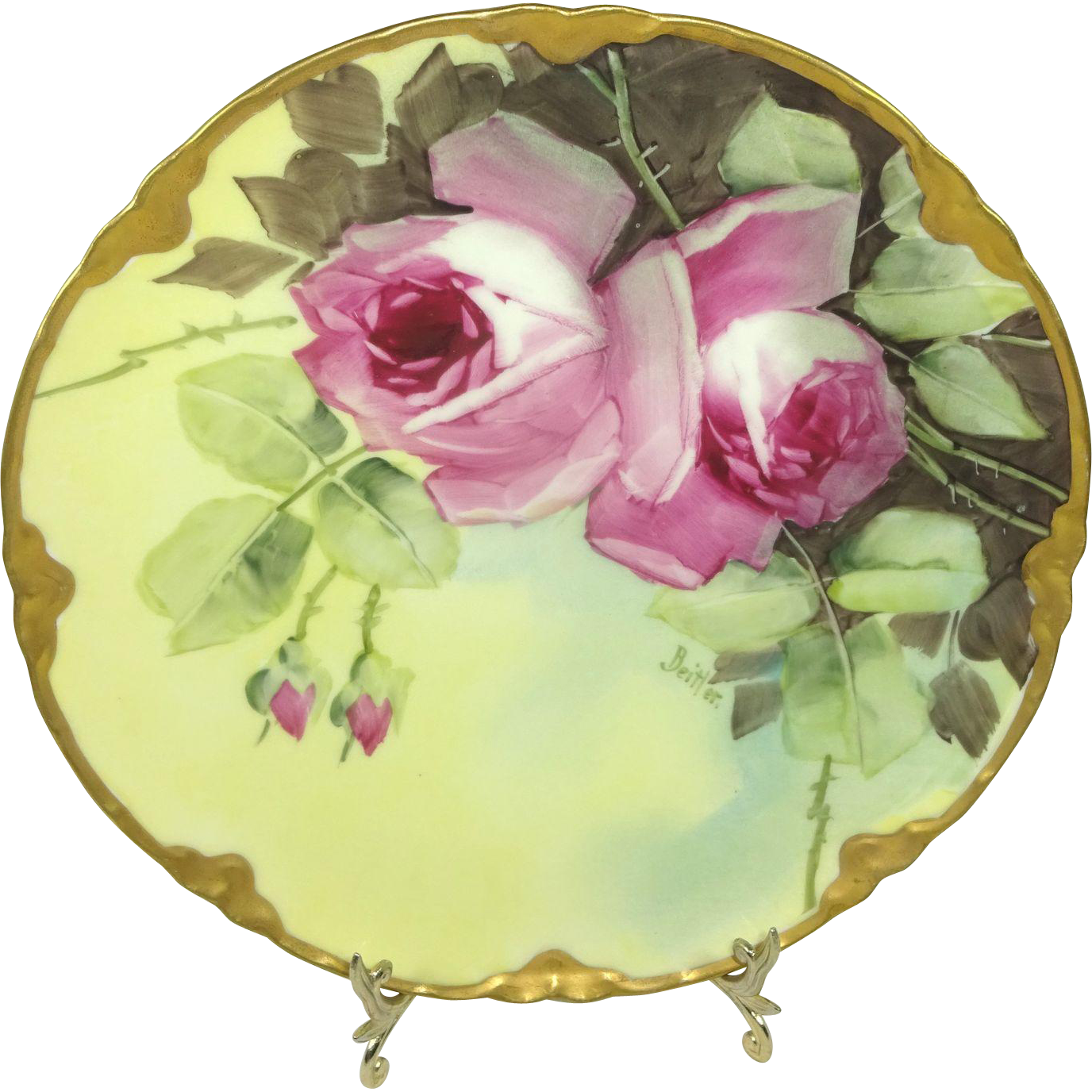 BEAUTIFUL Haviland Limoges Plate with Hand Painted Roses - - Artist Signed