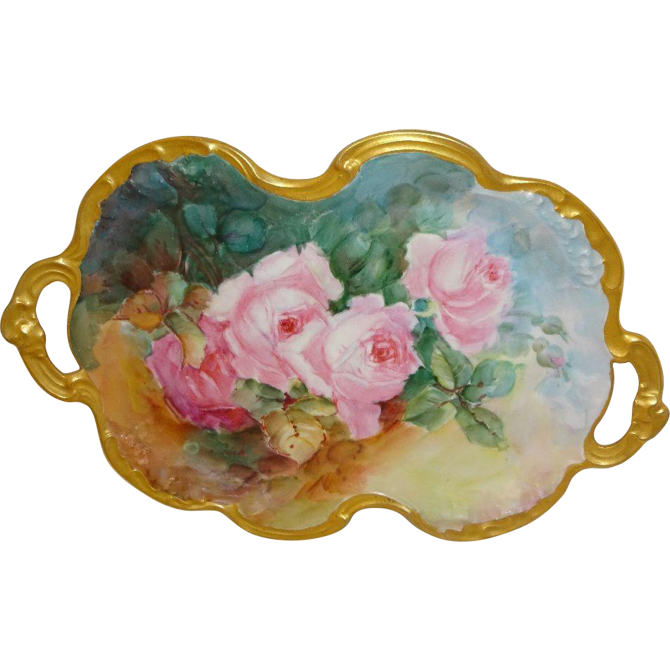 GORGEOUS -JP - Limoges - France -Dual Handle - Tray - Hand Painted - Romantic - Victorian Bouquets - Tea Roses - Coin Gold Accents - Museum Quality - Circa 1932 - French Vintage Heirloom