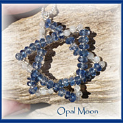 REDUCED Kyanite and Rainbow Moonstone Star of David Pendant by Opal Moon