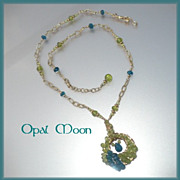 REDUCED Apatite and Peridot Pendant Necklace by Opal Moon