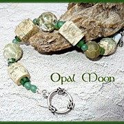 REDUCED Carved Serpentine, Aventurine and Chrysoprase Sterling Bracelet by Opal Moon