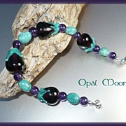 REDUCED Lampwork Bead, Aventurine, Amethyst Sterling Bracelet by Opal Moon