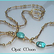 REDUCED Nepalese Brass and Turquoise Necklace by Opal Moon