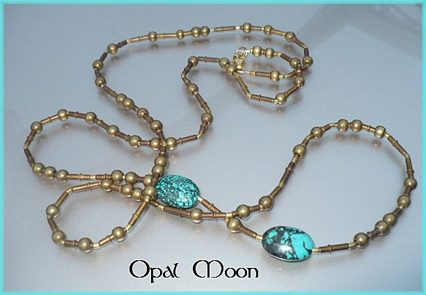 Nepalese Brass and Turquoise Necklace by Opal Moon