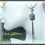 REDUCED Lampwork Bead and Peridot Sterling Earrings by Opal Moon