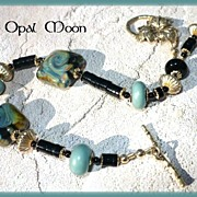 REDUCED Lampwork Bead and Onyx Bracelet by Opal Moon