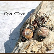 REDUCED Carved Soapstone & Leopard Jasper Copper Earrings by Opal Moon