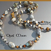 REDUCED Peruvian Opal, Agate, Jasper, Hematite & Smoky Quartz Sterling Necklace & Earring Set 