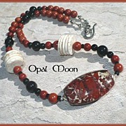 REDUCED Brecciated Jasper, Red Jasper, Black Onyx and Magnesite Sterling Necklace by Opal Moon