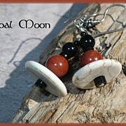 REDUCED Red Jasper, Black Onyx & Magnesite Sterling Earrings by Opal Moon