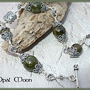REDUCED Hand Wired Grossular Garnet & Sterling Filigree Bracelet by Opal Moon