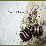 REDUCED Peridot Copper Earrings by Opal Moon