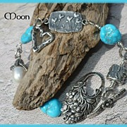 SOLD Sleeping Beauty Turquoise & Baroque Fresh Water Pearl Sterling Silver Hand Wired Bracelet