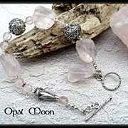 REDUCED Rose Quartz Sterling Bracelet by Opal Moon