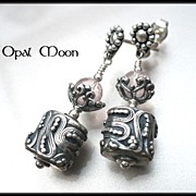 REDUCED Rose Quartz Sterling Silver Earrings by Opal Moon