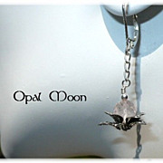 REDUCED Rose Quartz Sterling Lotus Earrings by Opal Moon