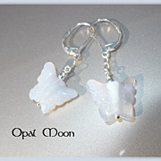 REDUCED Pale Blue Chalcedony Butterfly Sterling Earrings by Opal Moon
