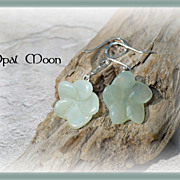 REDUCED Soft Green Chalcedony Plumeria Sterling Earrings by Opal Moon