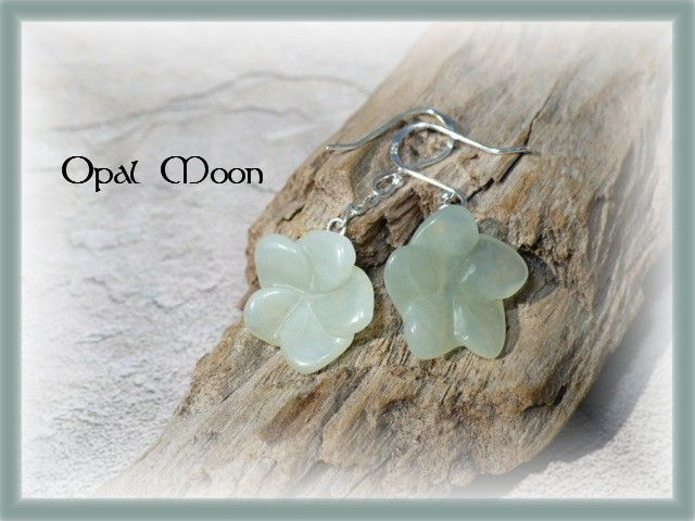 Soft Green Chalcedony Plumeria Sterling Earrings by Opal Moon