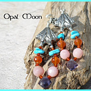 REDUCED Nacozari Turquoise, Carnelian, Pink Opal & Iolite Sterling Earrings by Opal Moon