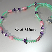 REDUCED Rhodochrosite, Chrysoprase & Amethyst Sterling Necklace by Opal Moon