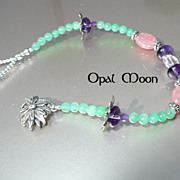 REDUCED Rhodochrosite, Chrysoprase & Amethyst Sterling Bracelet by Opal Moon