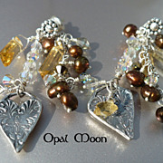 REDUCED Citrine, Fresh Water Pearl and Crystal Heart Sterling Earrings by Opal Moon