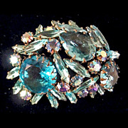 Regency Large Turquoise Rhinestone Brooch