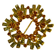 Amazing Amber & Yellow Rhinestone Round Pin