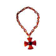 MOD Chunky Butterscotch Lucite Maltese Cross Necklace
