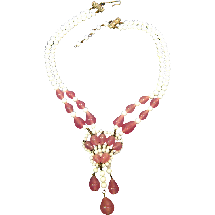 pink and white glass bead necklace vintage fashion