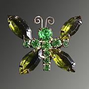 Green Rhinestone Butterfly Brooch