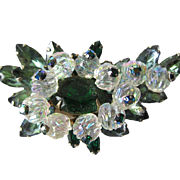 Vintage Emerald Green and Clear Poured Glass Brooch
