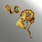Floral Demi-Parure -- Brooch & Earrings
