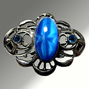 Delicate Art Nouveau Blue Moonstone Pin