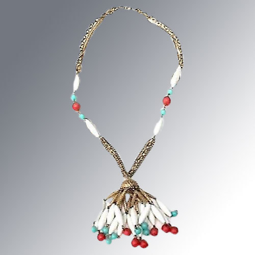 Flapper Style Necklace -- White, Turquoise & Orange Beads
