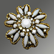 SALE Vintage White Glass & Rhinestone Chunky Brooch