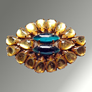 Gold & Green Rhinestone Vintage Brooch