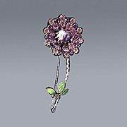 Spring Has Sprung...Amethyst Rhinestone & Baroque Pearl Flower Pin
