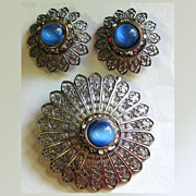 Demi Parure -- Blue Glass, Rhinestone & Filligree Pin & Earrings