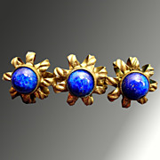 Beautiful Art Nouveau Edwardian Czech Gold-tone and Blue Art Glass Brooch Pin