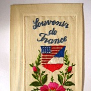 Embroidered Silk Post Card - Louvonir De France 1919