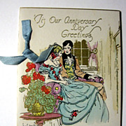 Vintage Anniversary Card with Decorated Envelope