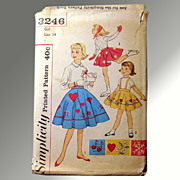 Vintage Simplicity Girls Skating Skirt, Skirt and Panties Pattern