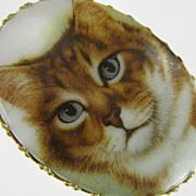 Vintage Cat Portrait Transferware Porcelain Brooch
